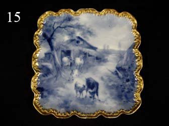 15: Fine Sevres flow blue tray, artist signed by A. Led