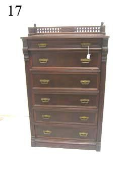 17: Walnut six drawer lock side chest with carved galle