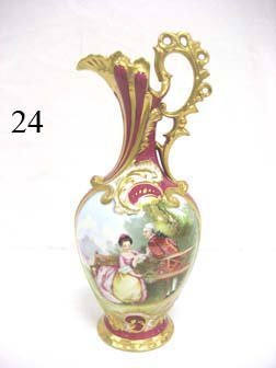 "24: Exceptional Sevres 16"" gold decorated ewer of the V"