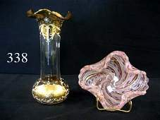 """338: 10 1/2"""" gold and enamel decorated ruffle top vase,"""
