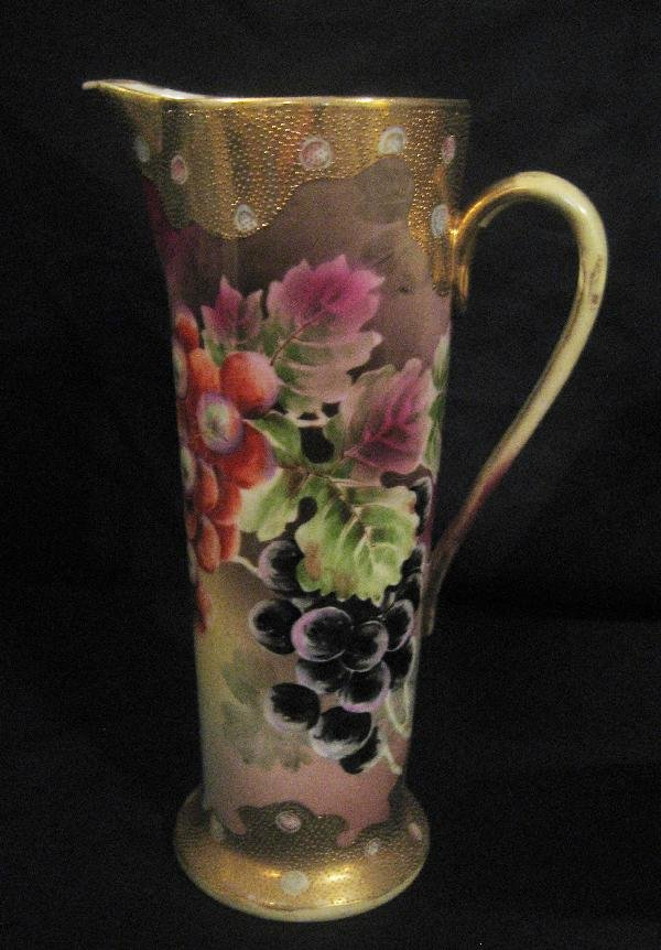 "6: Nippon Blue maple leaf 12"" tankard with grapes and"