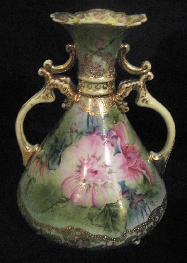 """16: Nippon Blue maple leaf 9 1/2"""" 2-handle vase of"""