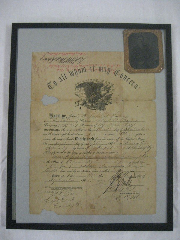 3: Sept. 1, 1865 Discharge of Private Alfred Wethrow of