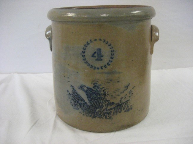 14: Fine cobalt decorated 4 gallon stone jar with eagle