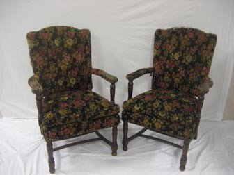 2: Set of 4 arm chairs.  Two in black leather, two in f