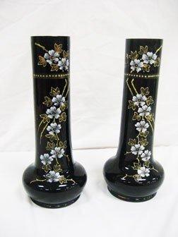 "3: 13 1/2"" amethyst enameled ribbed vases."