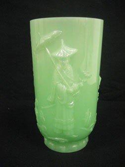 """5: Fenton Oriental Mandarin 9 1/2"""" vase in jade green."""