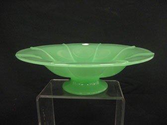 7: Fenton #857 ribbed jade green compote.