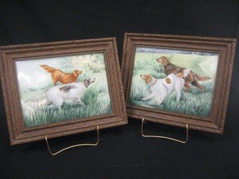 12: Pair Limoges Hunting Dog plaques signed Whitmore.