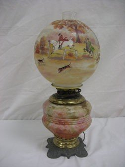 """13: Hunt scene lamp with ball shade.  App. 18"""" to top o"""