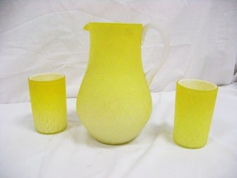 14: Lemon satin cased diamond quilted water pitcher and