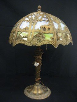 """19: Leaded glass 6-panel lamp with 16 1/2"""" shade."""