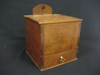 20: Hanging walnut box with lift top and single divided