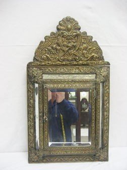 """23: Mirrored molded brass tabernacle.  24 1/2"""" X 13 3/4"""