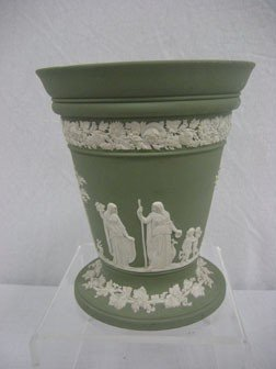 4: Wedgwood green jasperware flare top vase.