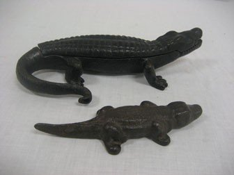 7: (2) Iron alligators.