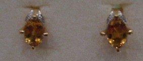 Citrine And Diamond Earrings.