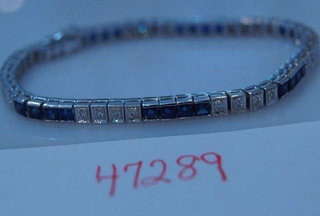 23: 1960's 18k white gold sapphire and diamond bracelet