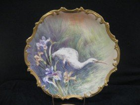 "15 1/2"" LRL Limoges Charger With A White Heron."