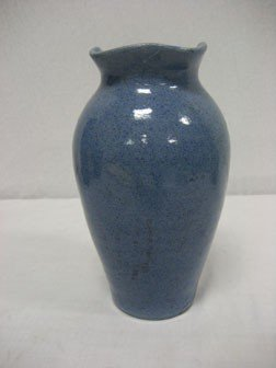 "169: Unmarked 8 1/4"" blue Waco pottery vase with quadra"