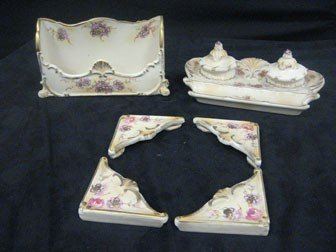 175: French Faience desk set with corners, letter holde