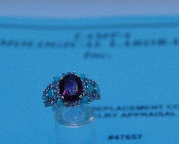 181: 14k white gold amethyst, tanzanite and turquoise r