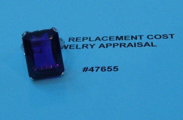 192: Platinum ring with 29.0 carat amethyst.