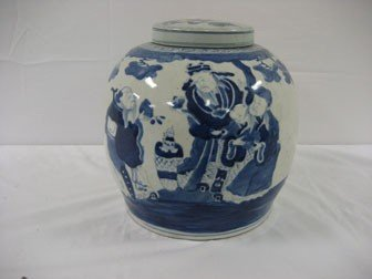"""307: 11"""" Chinese blue and white covered ginger jar."""