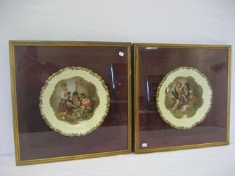 "1: Framed gold decorated 10"" plates showing ""Melon Eate"