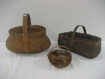 "3: Grouping of three baskets.  4 1/2"" egg basket with s"