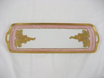 "4: 6"" X 18"" dresser tray.  R. S. Silesia, with pink bac"