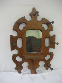 11: Walnut Victorian mirrored hanging hat/coat rack wit