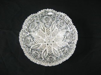 """13: F.X. Parsche Co. cut glass 9"""" bowl in the """"Cane and"""