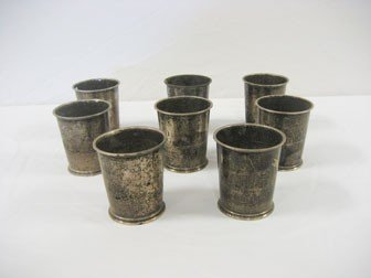 16: (8) Fisher sterling silver julep cups with monogram
