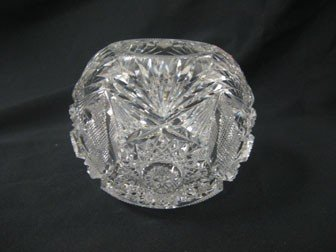 """12: 4 1/2"""" cut glass rose bowl in hobstar and strawberr"""