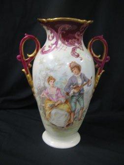 "21: 13"" porcelain two handle vase signed E.C.D. on unde"