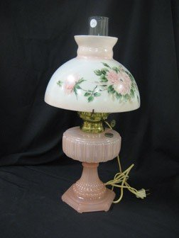 23: Aladdin pink Cathedral lamp with hand painted shade