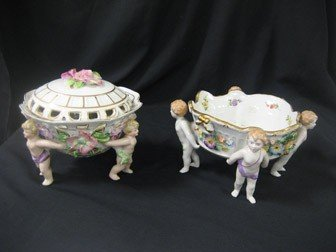 """24: 8"""" footed compote with applied flower and gold deco"""