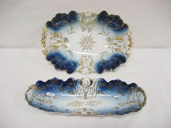 4: Cobalt and gold decorated porcelain with embossed Ir