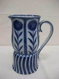 """5: Flow blue Doulton Burslem 8 3/8"""" pitcher with floral"""