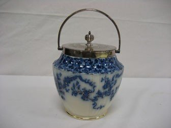 6: Flow blue biscuit jar with gold highlights and hallm
