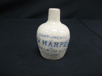 8: KY stoneware advertising jug - Compliments I.W. Harp