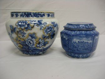 "10: Flow blue:  7 3/4"" jardeniere with floral decoratio"