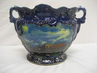 11: Contemporary cobalt decorated handled jar with gold