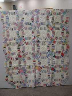 """12: Quilt:  Double Wedding Ring quilt.  61 1/2"""" X 87"""""""