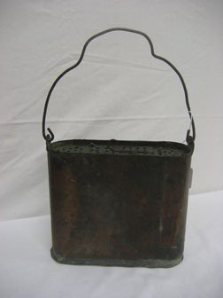 17: Copper minnow bucket of seamed construction.