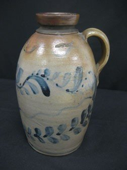 "89: Fine 9 1/8"" cobalt decorated snuff jug with three c"