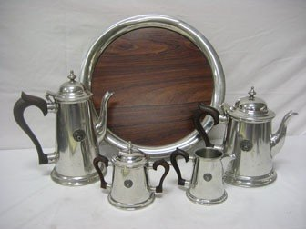 222: Steiff Pewter coffee and tea service with Amateur