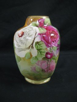 "1: Nippon 8 1/2"" vase with red and white roses.  Green"