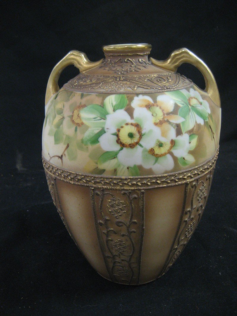 "1A: 8"" Nippon two handle vase with decorative border an"